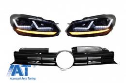 Faruri Osram LED Negre LEDriving Semnal Dinamic Grila Centrala compatibil cu VW Golf 6 VI (2008-2012) R20 Design - COFGVWG6R20BK