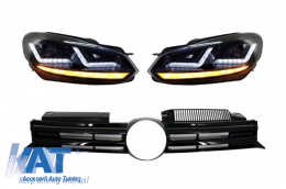 Faruri Osram RHD LED Negre LEDriving Semnal Dinamic Grila Centrala compatibil cu VW Golf 6 VI (2008-2012) R20 Design - COFGVWG6R20BKRHD
