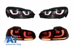 Faruri si Stopuri Full LED compatibil cu VW Golf 6 VI (2008-up) R20 U Design cu Semnal LED Dinamic - COHLVWG6URCFW