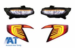 Faruri Stopuri Full LED compatibil cu HONDA Civic Mk10 (FC/FK) (2016-Up) Limousine Full LED Light Bar Rosu/Negru Semnalizare Dinamica - COHLHOCIFKRB