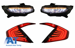 Faruri Stopuri Full LED compatibil cu HONDA Civic Mk10 (FC/FK) (2016-Up) Limousine Full LED Light Bar Rosu/Fumuriu Semnalizare Dinamica - COHLHOCIFKRS