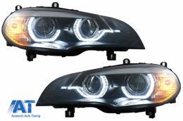 Faruri Xenon Angel Eyes 3D Dual Halo Rims LED DRL compatibil cu BMW X5 E70 (2007-2010) Negru - HLBME70B