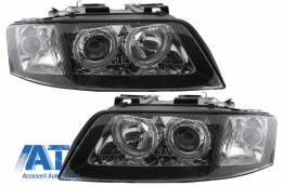 Faruri Xenon compatibil cu AUDI A6 4B 99-01 pozitie Angel Eyes negru