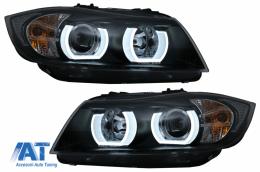 Faruri Xenon U-Led 3D Dual Halo Rims compatibil cu BMW Seria 3 E90 Limuzina E91 Touring (03.2005-08.2008) LHD Negru - HLBME90D1SB
