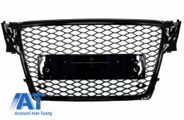 Grilă Centrala Fără Emblema Audi A4 B8 (2008-2011) RS4 Design Negru Lucios - FGAUA4B8RSPDC