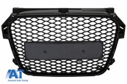 Grilă Centrala Fără Emblema compatibil cu AUDI A1 8X Facelift (2015-2018) RS1 Design Negru Lucios - FGAUA18XRSB