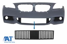 Grila central inferioara compatibila cu BMW Seria 5 F10 F11 M-Tech (2009-2017) cu distronic - FBGBMF10MTD