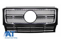 Grila Centrala compatibil cu MERCEDES Benz W463 G-Class (1990-2012) 2012 G65 AMG Look Piano Black Edition - FGMBW463AMGB