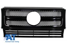 Grila Centrala compatibil cu MERCEDES Benz W463 G-Class (1990-2012) 2012 G65 G63 AMG Look Piano Black Edition - FGMBW463AMGBB