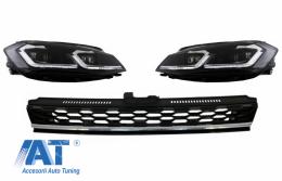 Grila Centrala compatibil cu VW Golf 7.5 VII Facelift (2017+) cu Faruri LED Semnal Dinamic GTI Look Crom - COFGVWG7FGTICHHLS