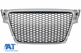 Grila Centrala Fara Emblema compatibil cu AUDI A4 B8 (2007-2012) Limousine Avant RS Design Argintiu - FGAUA4B8RSS