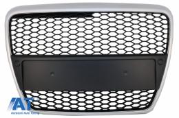 Grila Centrala Fara Emblema compatibil cu Audi A6 4F 4F2 C6 (2004-2011) Limousine Avant RS Design Argintiu Mat - FGAUA64FRSMS