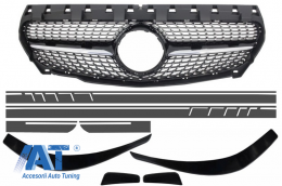 Grila Centrala Mercedes CLA C117 X117 W117 (2013-2016) AMG Diamond Design Prelungiri Bara Fata si Stickere Laretale Gri Inchis - COFGMBW117AMGBSDG