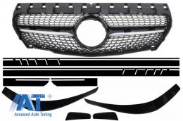 Grila Centrala Mercedes CLA C117 X117 W117 (2013-2016) AMG Diamond Design Prelungiri Bara Fata si Stickere Laretale Negru Mat - COFGMBW117AMGBSDMB
