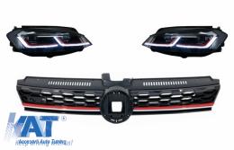 Grila Centrala si Faruri LED compatibil cu VW Golf 7.5 VII Facelift (2017+) GTI Look cu Semnal Dinamic