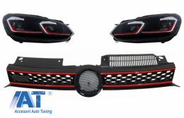 Grila Centrala si Faruri LED compatibil cu VW Golf 6 VI 2008-2012 GTI Design - COFGVWG6GTIFR