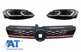 Grila Centrala si Faruri LED compatibil cu VW Golf 7.5 VII Facelift (2017+) GTI Look cu Semnal Dinamic - COFGVWG7FGTI75SBX