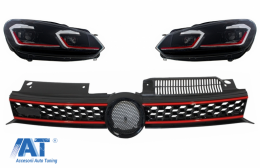 Grila Centrala si Faruri LED Semnalizare Secventiala LHD compatibil cu VW Golf 6 VI 2008-2012 GTI Design - COFGVWG6GTIFR