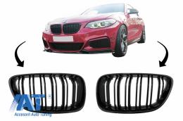 Grile Centrale compatibil cu BMW 2 Series F22 F23 F87 (2014-up) Negru Lucios M Design - FGBMF22DPB