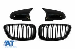 Grile Centrale si Capace oglinzi compatibil cu BMW 2 Series F22 F23 (2014-up) Negru Lucios M Design - COFGBMF22DPBB