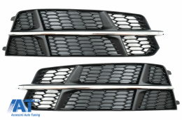 Grile Laterale compatibil cu Audi A6 C7 4G S Line Facelift (2015-2018) Negru & Crom - SGAUA64GFBWO
