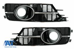 Grile Laterale compatibil cu AUDI A6 C7 4G Facelift (2015-2018) Negru Lucios si Crom - SGAUA64GFN