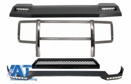 Kit BullBar Bare Protectie si Eleron Frontal LED cu Prelungire Superioara si Prelungire Bara Fata DRL LED compatibil cu MERCEDES G-Class W463 (1989-2018) G63 G65 Design - COBBMBW463BFBSFRS