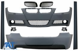 Kit Exterior BMW Seria 3 E90 (2005-2008) M-Technik Design cu Grile Centrale Negru - COCBBME90MTGB