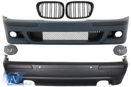 Kit Exterior compatibil cu BMW Seria 5 E39 (1997-2003) Cu Proiectoare Crom si Grile Negru Lucioase - COCBBME39M5DOPG