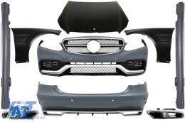 Kit Exterior compatibil cu MERCEDES Benz W212 E-Class Facelift (2013-up) E63 A-Design cu Ornamente de evacuare