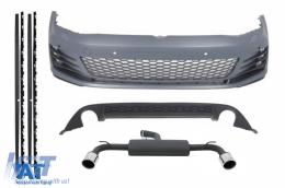 Kit Exterior compatibil cu VW Golf VII 7 2013-2016 GTI Design cu Sistem Evacuare Complet - COCBVWG7GTIES