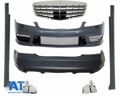 Kit Exterior Complet compatibil cu Mercedes S-Class W221 (2005-2013) cu Ornamente Toba si Grila Centrala - COCBMBW221AMG