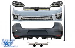 Kit Exterior Complet compatibil cu VW Golf VII 7 (2012-2017) R400 cu Sistem de evacuare complet si Faruri 3D LED Semnalilzare Dinamica - COCBVWG7R400ESLEDFW