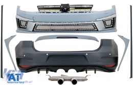 Kit Exterior Complet compatibil cu VW Golf VII 7 (2012-2017) R400 cu Sistem de evacuare complet si Eleron Luneta Prelungiri Laterale - COCBVWG7R400RSLEDFW