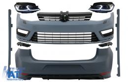Kit Exterior Complet compatibil cu VW Golf VII 7 (2012-2017) cu Faruri LED Semnal Dinamic R-line Look - COCBVWG7RLFS