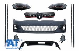 Kit Exterior Complet si Faruri LED cu Semnal Dinamic compatibil cu VW Golf 7.5 VII Facelift (2017+) GTI Look - COCBVWG7FGTIHL