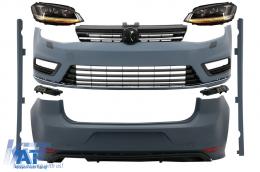 Kit Exterior Complet VW Golf VII 7 (2012-2017) cu Faruri 3D LED DRL Dinamic R-Line Look - COCBVWG7RLFW