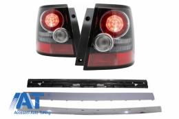 Ornament bondou portbagaj +Stopuri LED Range compatibil cu ROVER Sport L320 05-11 Facelift Look Aubiography Crom Design - COTLRRSL320FC