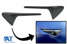 Ornamente Aripi Semnal compatibil cu Tesla Model 3 Y S  X (10.2016-up) cu AutoPilot 2-up Carbon Real
