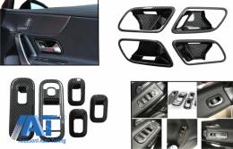 Ornamente interior Butoane Geamuri cu Ornamente interior Manere Usi  compatibil cu Mercedes A-Class W177 V177 (2018-Up) Carbon LHD - COCWGMBW177INFR