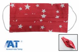 Pachet 5 masti de protectie rosii cu stele cu pliuri din bumbac 100% + 5 Filtre PPS de 330 - MASKRALRS