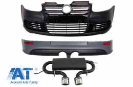 Pachet Complet compatibil cu VW Golf V 5 2005-2007 R32 Design Sistem de Evacuare Bara Fata Negru Lucios - COCBVWG5R32BES