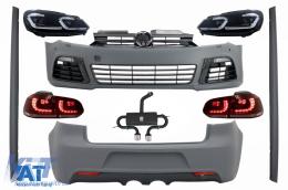 Pachet Complet Exterior compatibil cu VW Golf VI 6 MK6 (2008-2013) R20 Look cu Sistem de Evacuare