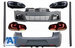Pachet Complet Exterior compatibil cu VW Golf VI 6 MK6 (2008-2013) R20 Look cu Faruri LED si Stopuri Full LED Semnal Secvential Dinamic