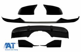 Pachet Exterior Aero Prelungire Bara Fata cu Difuzor si Capace oglinzi compatibil cu BMW X5 F15 (2014-2018) M Technik Sport Aerodynamic Design Negru Lucios - COCBBMF15MPAERO