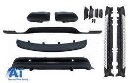 Pachet Exterior Aerodinamik si Praguri Trepte Laterale compatibil cu BMW X5 E70 LCI (2011-2014) - CORBBM02BK
