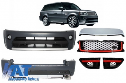 Pachet Exterior Autobiography Design Range Rover Sport Facelift 2009-2013 L320 cu Grila Centrala si Grile Laterale Rosu/Negru - COCBRRSFLRB
