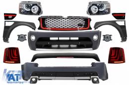 Pachet Exterior Autobiography Design Range Rover Sport (2005-2010) L320 Black Edition+Ansamblu Grila Centrala si Grile Laterale Sport Red - COCBRRSBR