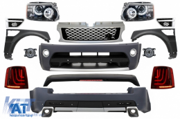 Pachet Exterior Autobiography Design Range Rover Sport (2005-2010) L320 Black Edition+Ansamblu Grila Centrala si Grile Laterale Sport Red - COCBRRSBGS