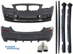Pachet Exterior BMW F10 Seria 5 (2011-2014) M-Performance Design cu Ornamente Evacuare M-Power - COCBBMF10MPDAS